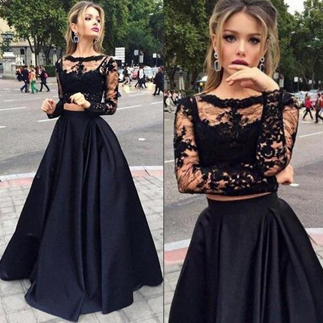 robe de bal longue deux pièces col transparent avec manches longue
