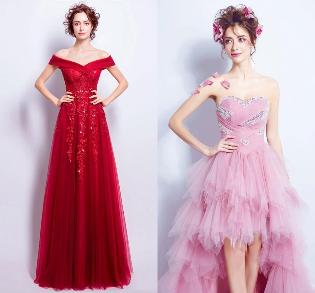 robe de mariée rouge chic orné de fleur