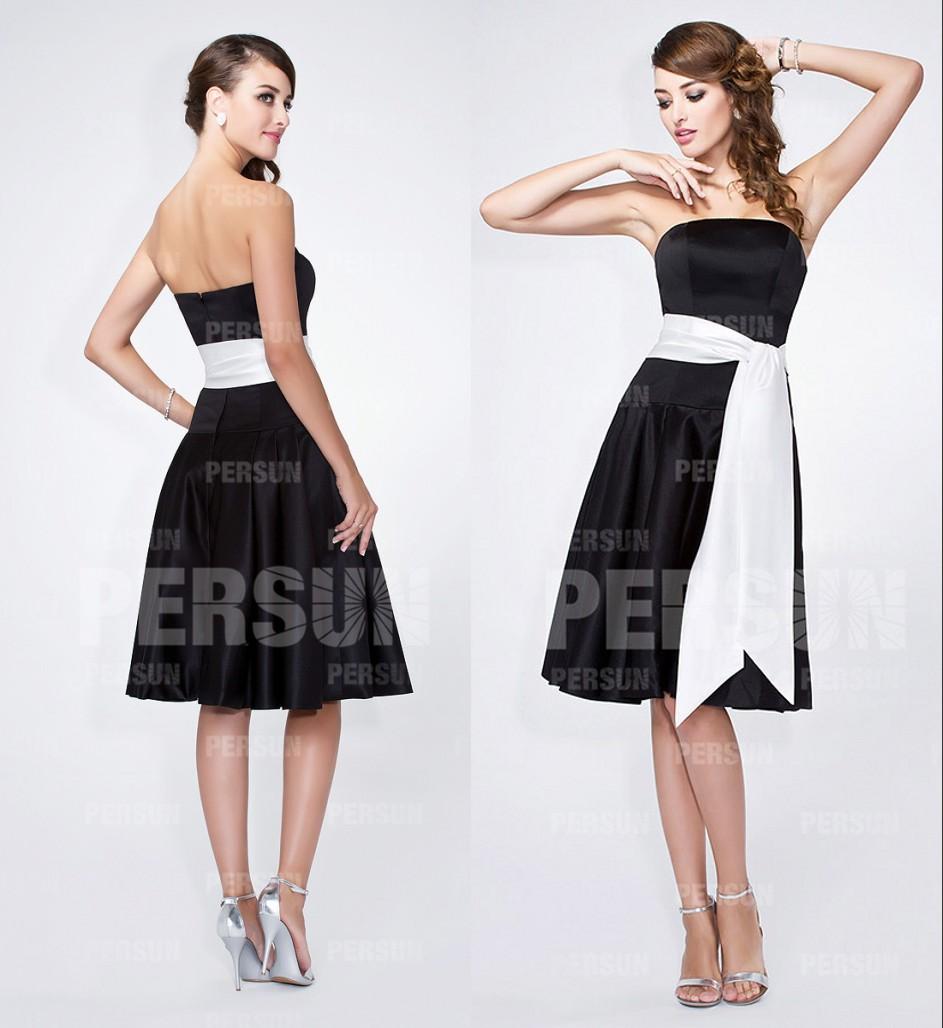 robe de soirée noire bustier droit en satin