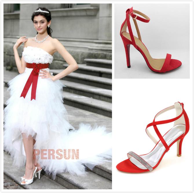 sandales de mariage rouges pour robe de mariée